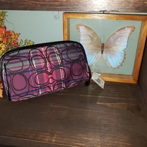 New Coach SignatreteTartain Cosmetic Pouch Bag